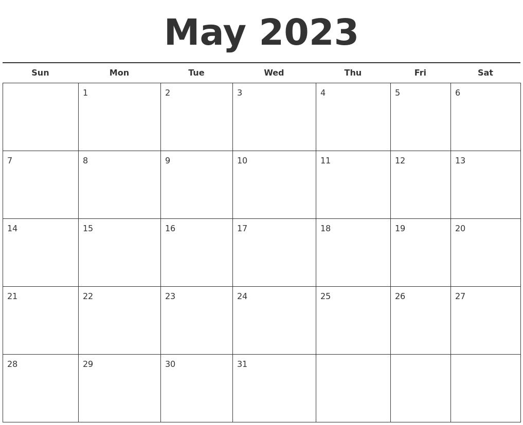 June 2023 Blank Monthly Calendar