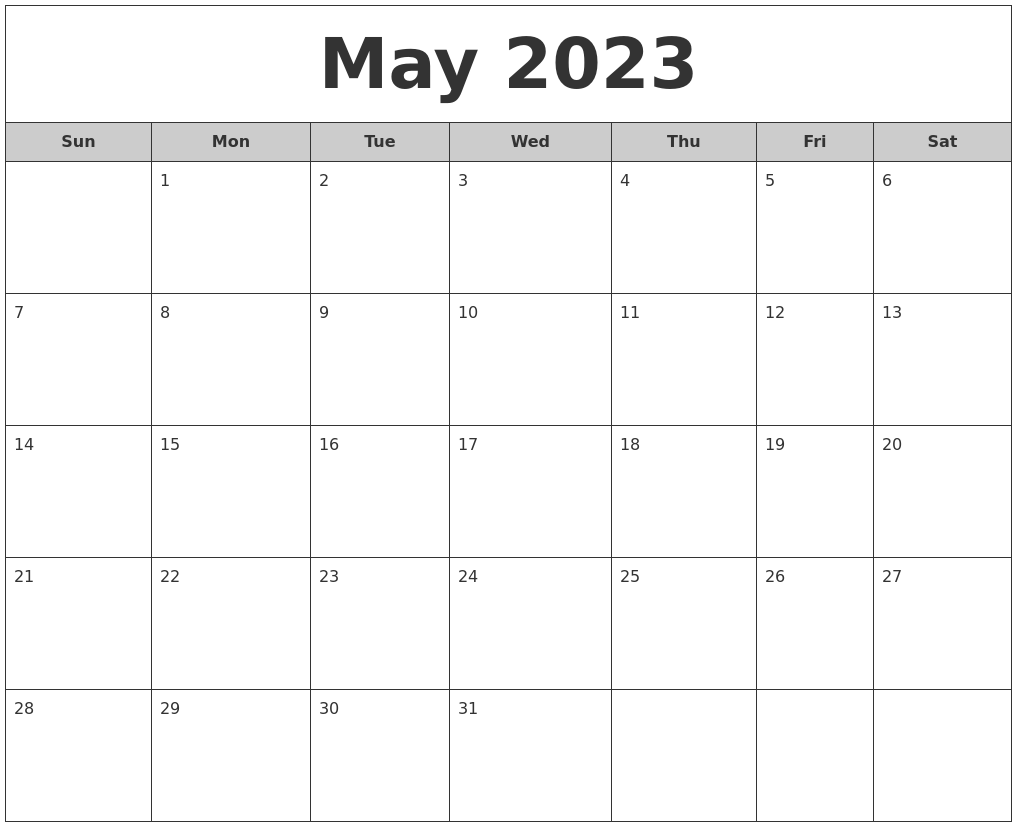 May 2023 Free Monthly Calendar
