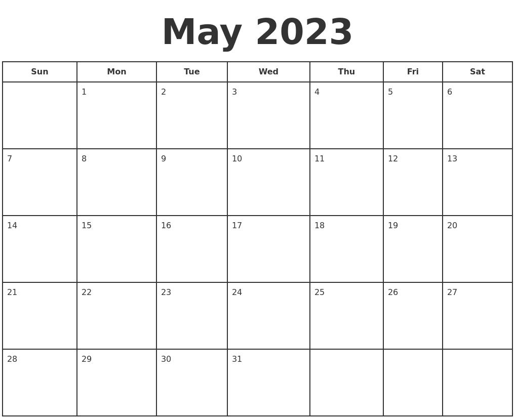 Calendar Typography Zoom : April print free calendar