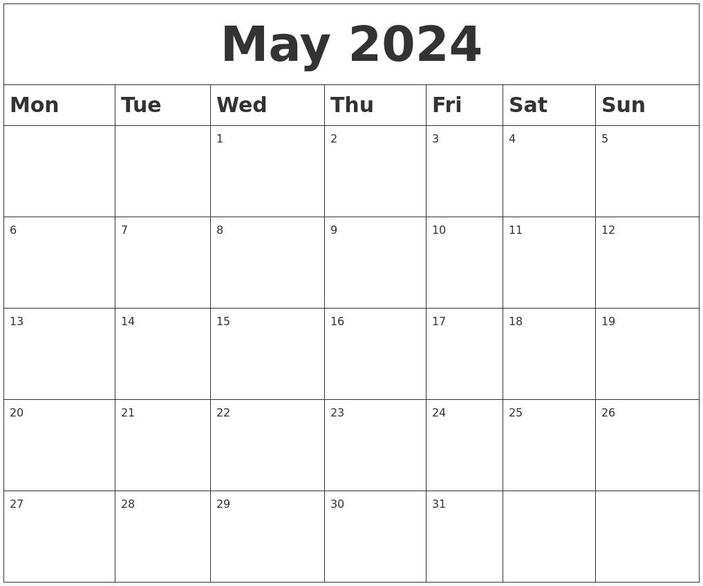 May 2024 Blank Calendar