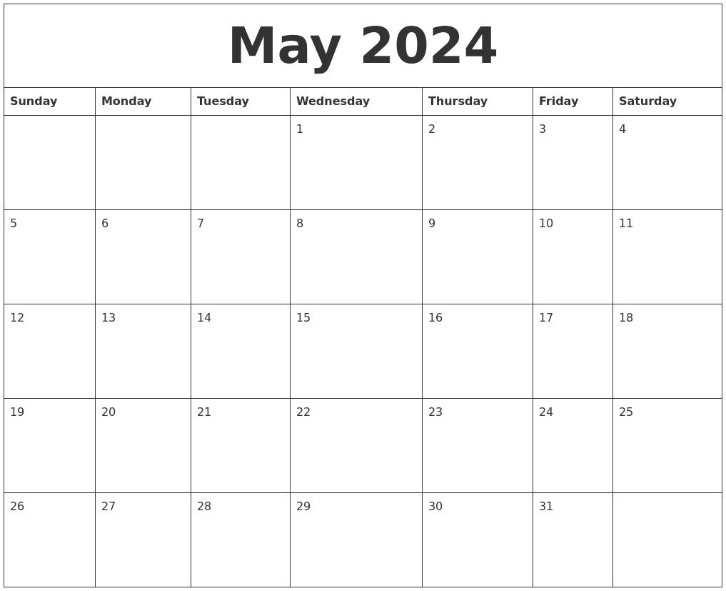 Calendar Layout May : May calendar layout