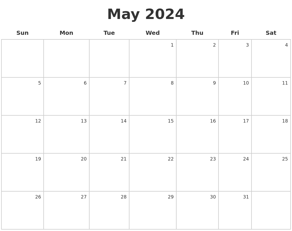 March 2024 Blank Monthly Calendar