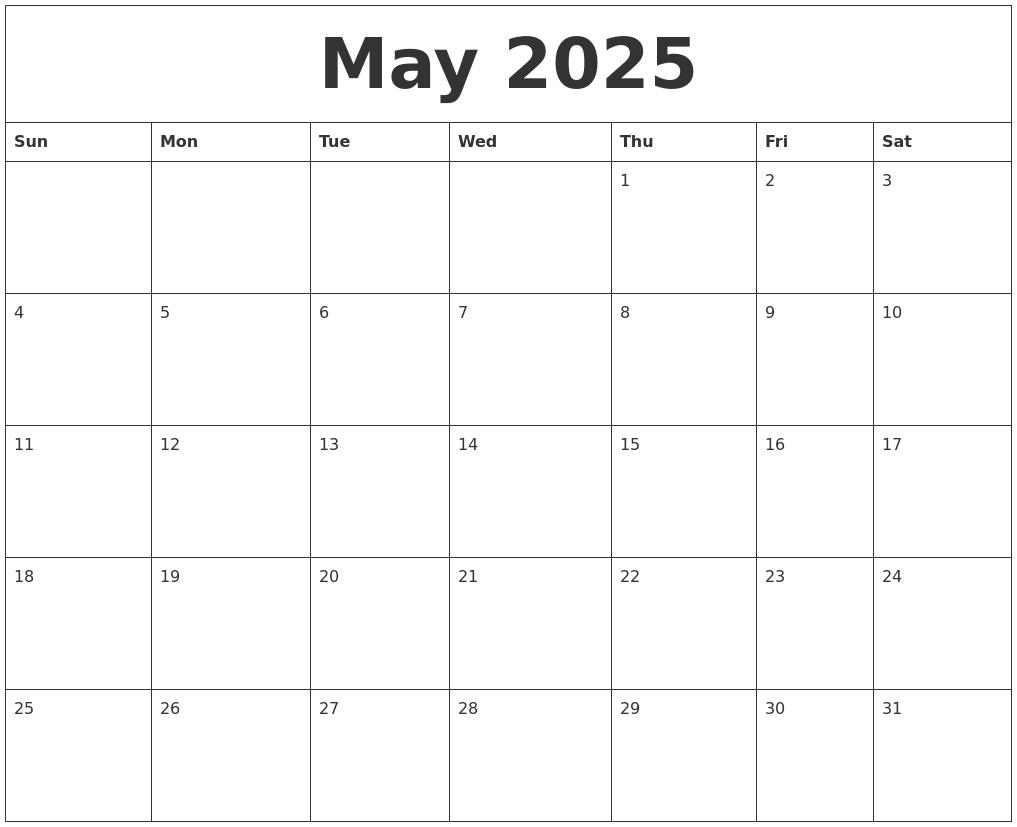 May 2025 Blank Calendar Printable