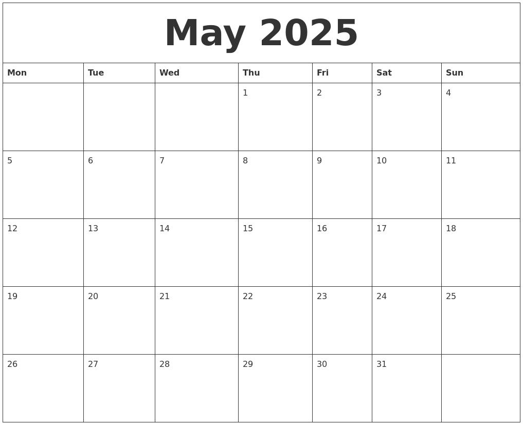 May 2025 Free Blank Calendar Template