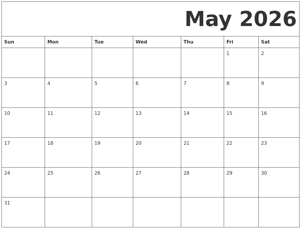 May 2026 Free Printable Calendar