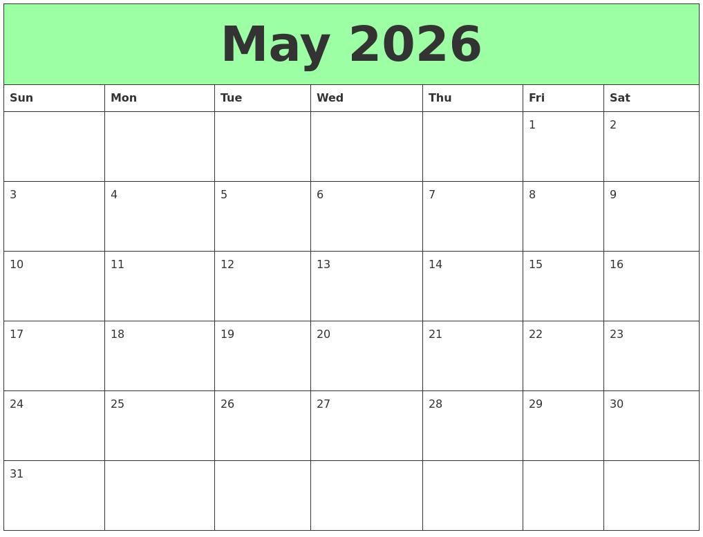 May 2026 Printable Calendars