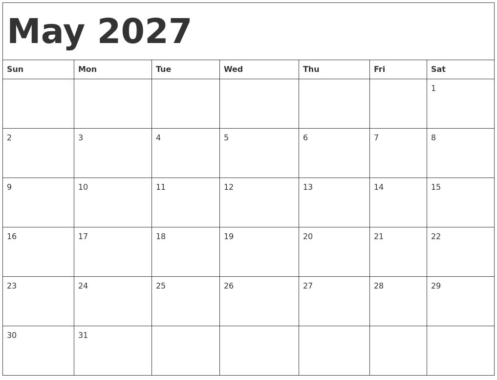 August 2027 Blank Calendar