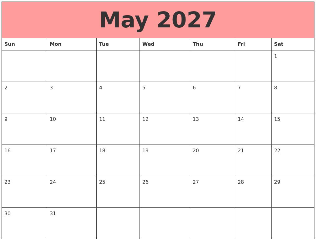 May 2027 Calendars That Work