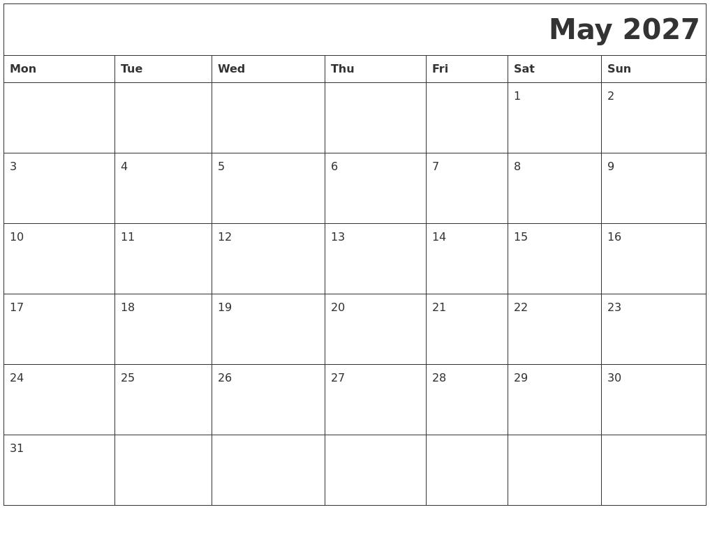 May 2027 Download Calendar