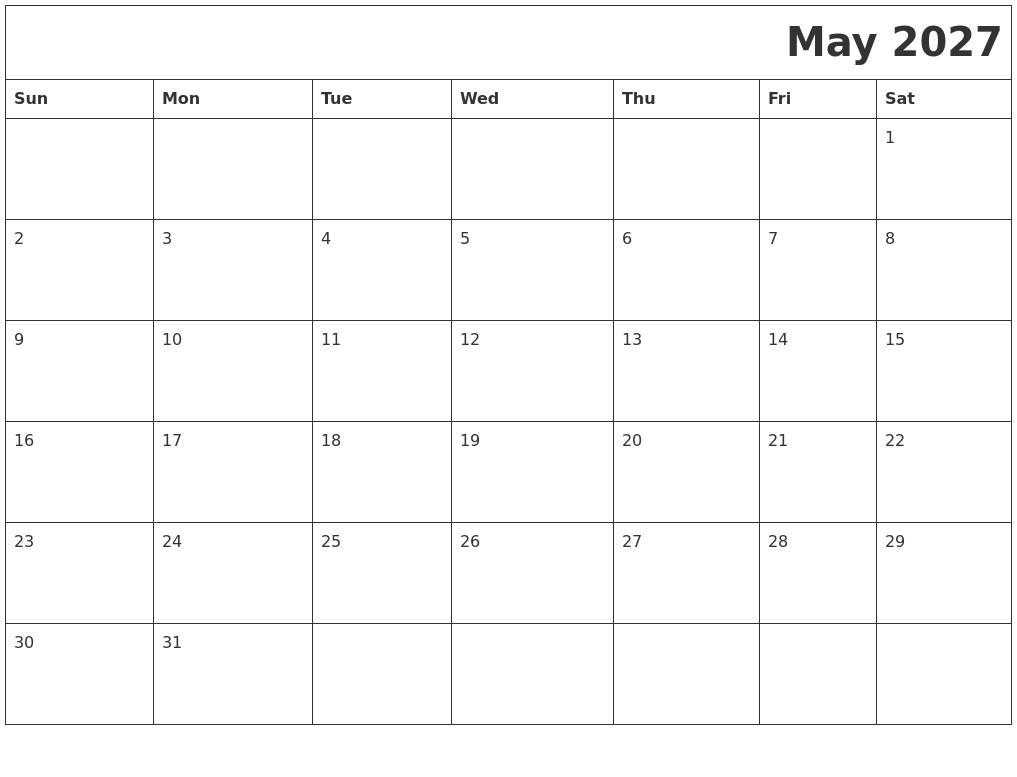 September 2027 Printable Blank Calendar