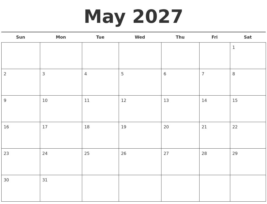 Free calendar template printable printable calendar by httpcalendarzoommediaprintable calendarmay 2027 free calendar templateg saigontimesfo