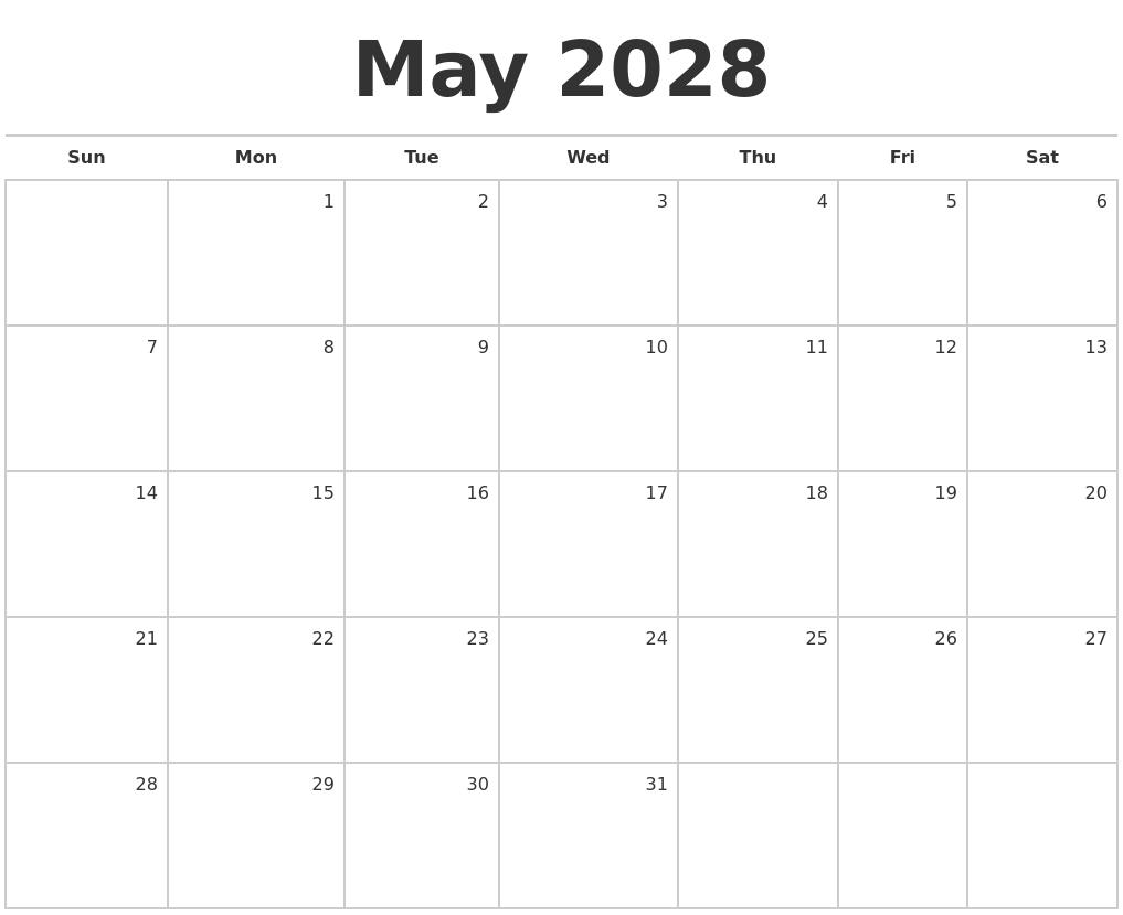 November 2028 Calendar Maker