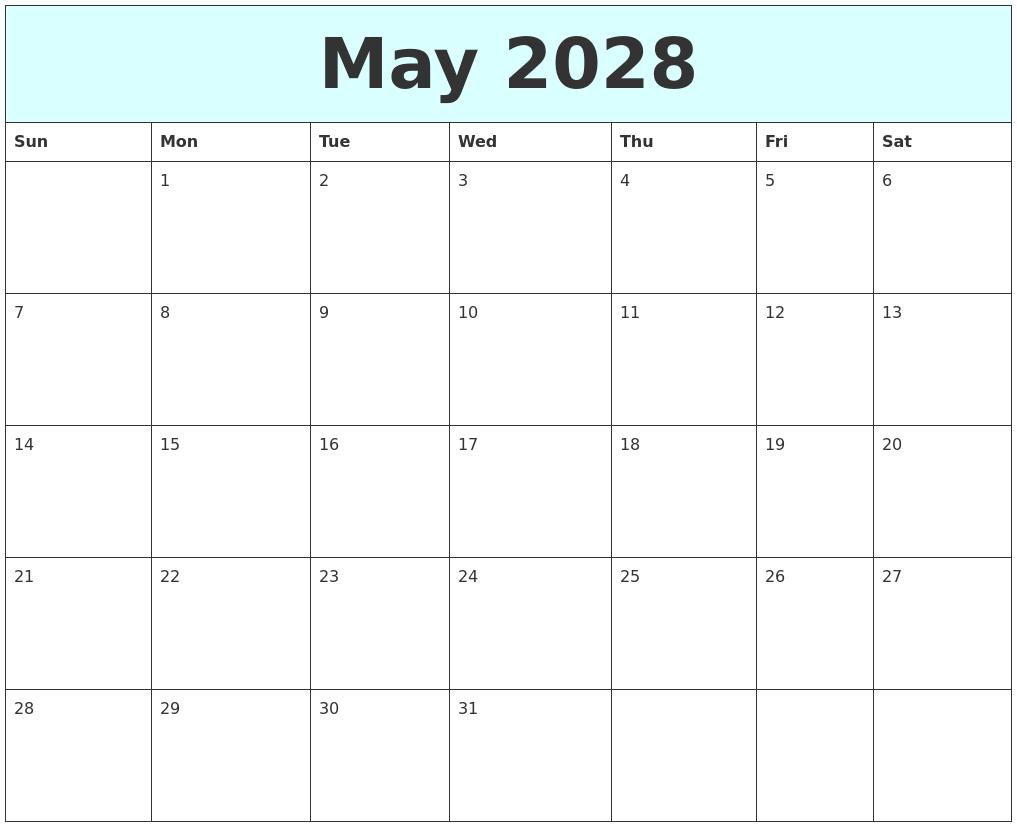 May 2028 Free Calendar