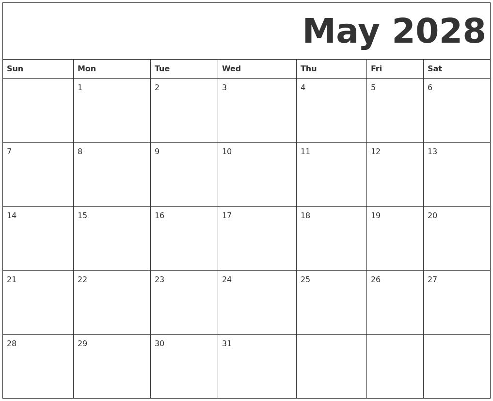 May 2028 Free Printable Calendar