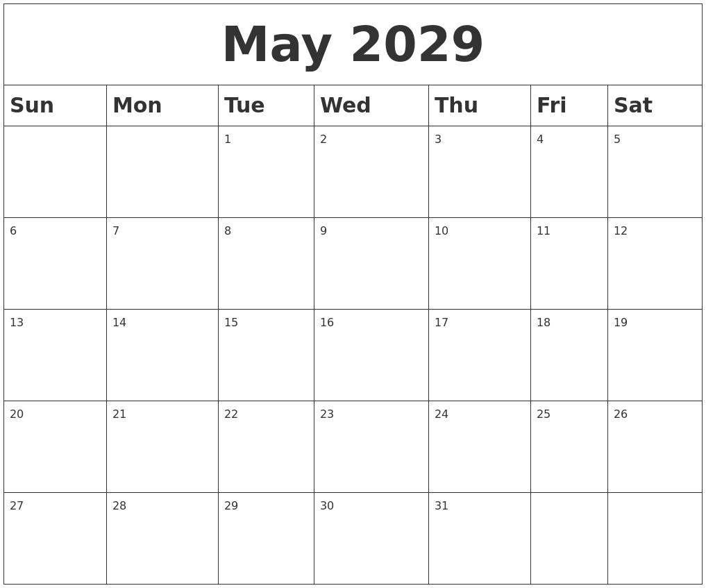 February 2029 Printable Calendar