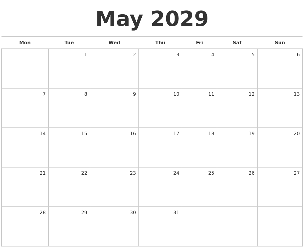 Calendar May Monday : May blank monthly calendar