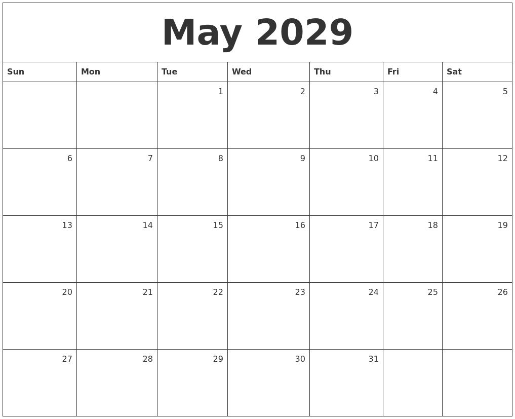 February 2029 Calendar Template