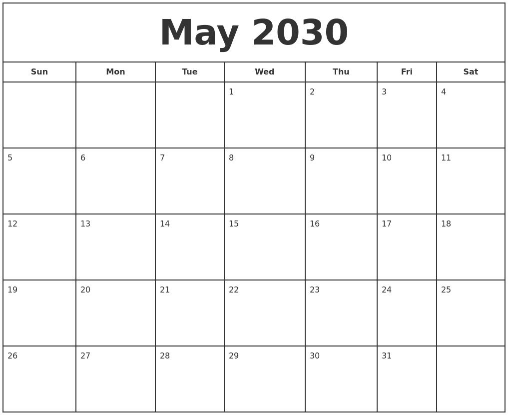 July 2030 Calendar Maker