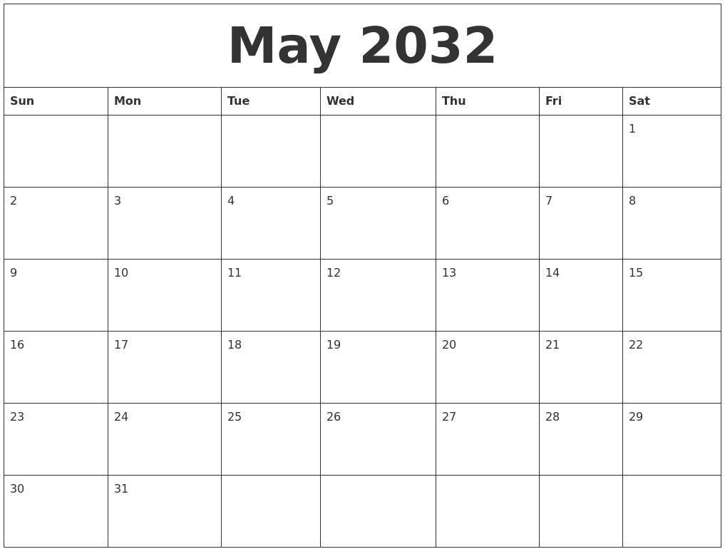 March 2032 Free Printable Blank Calendar