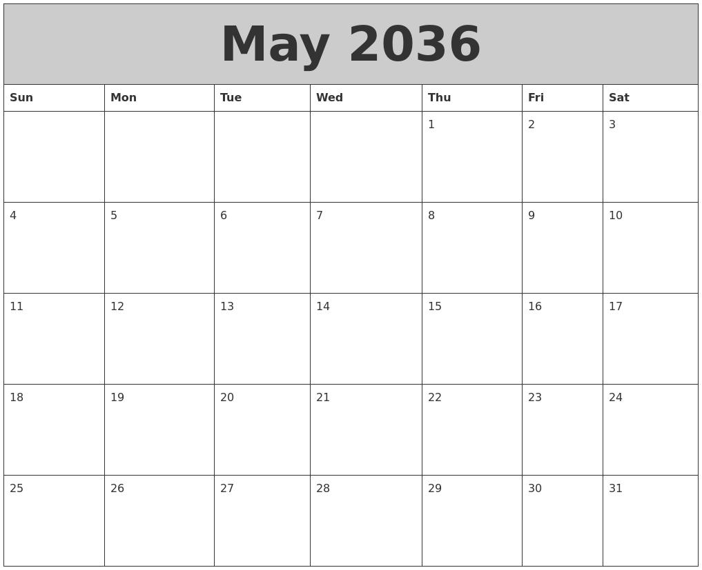 May 2036 My Calendar