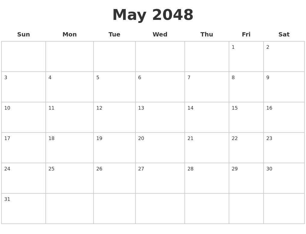 June 2048 Blank Printable Calendar