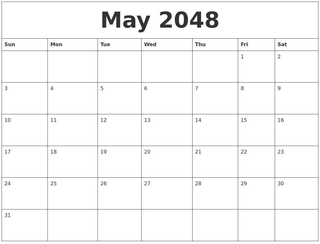 May 2048 Calendar Templates Free