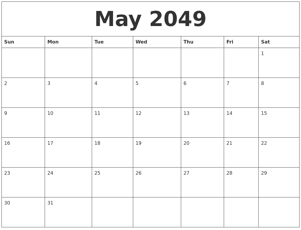 Blank Schedule Template | May 2049 Blank Schedule Template
