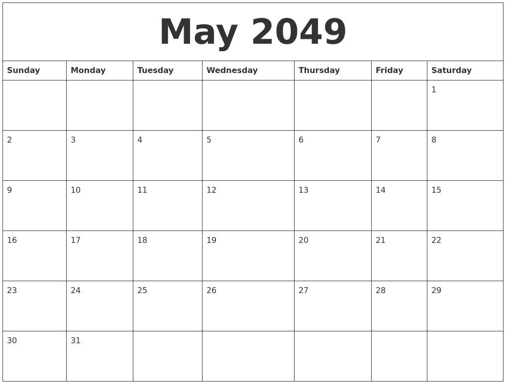 May 2049 Cute Printable Calendar
