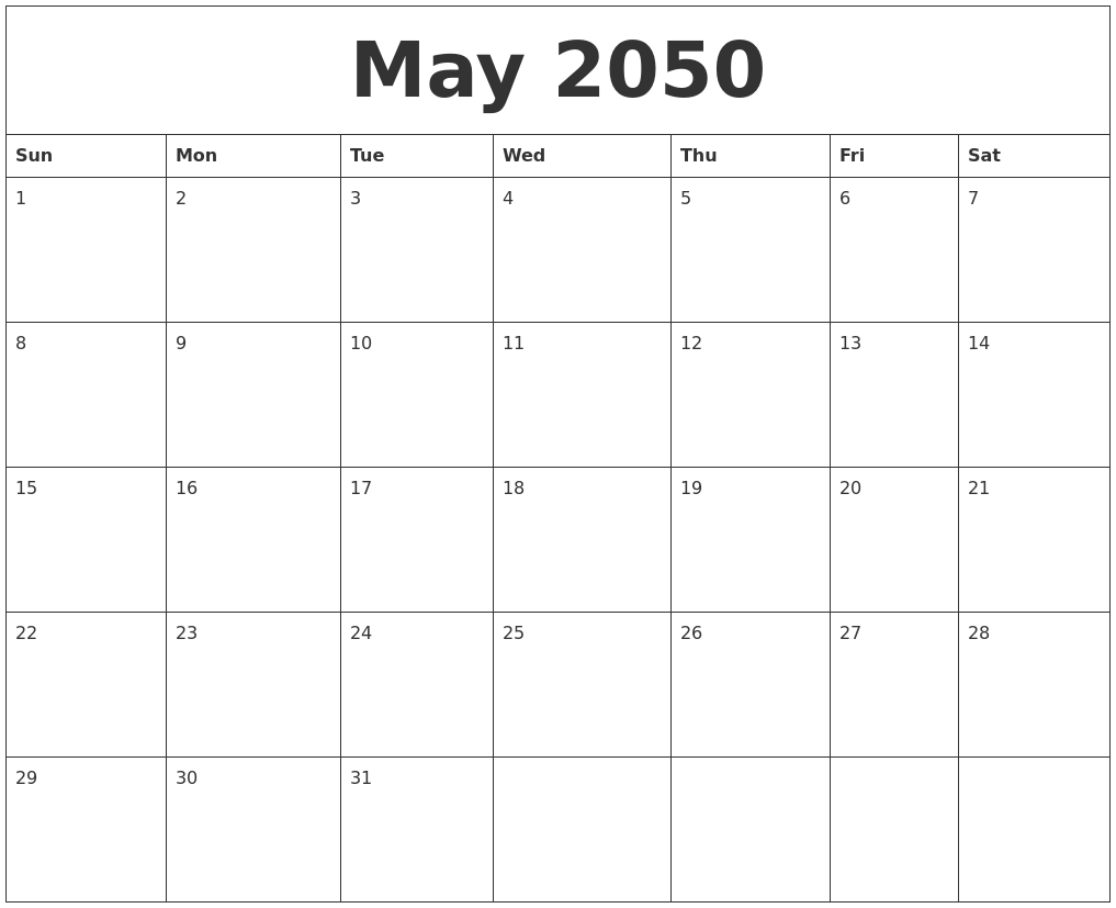 May 2050 Cute Printable Calendar