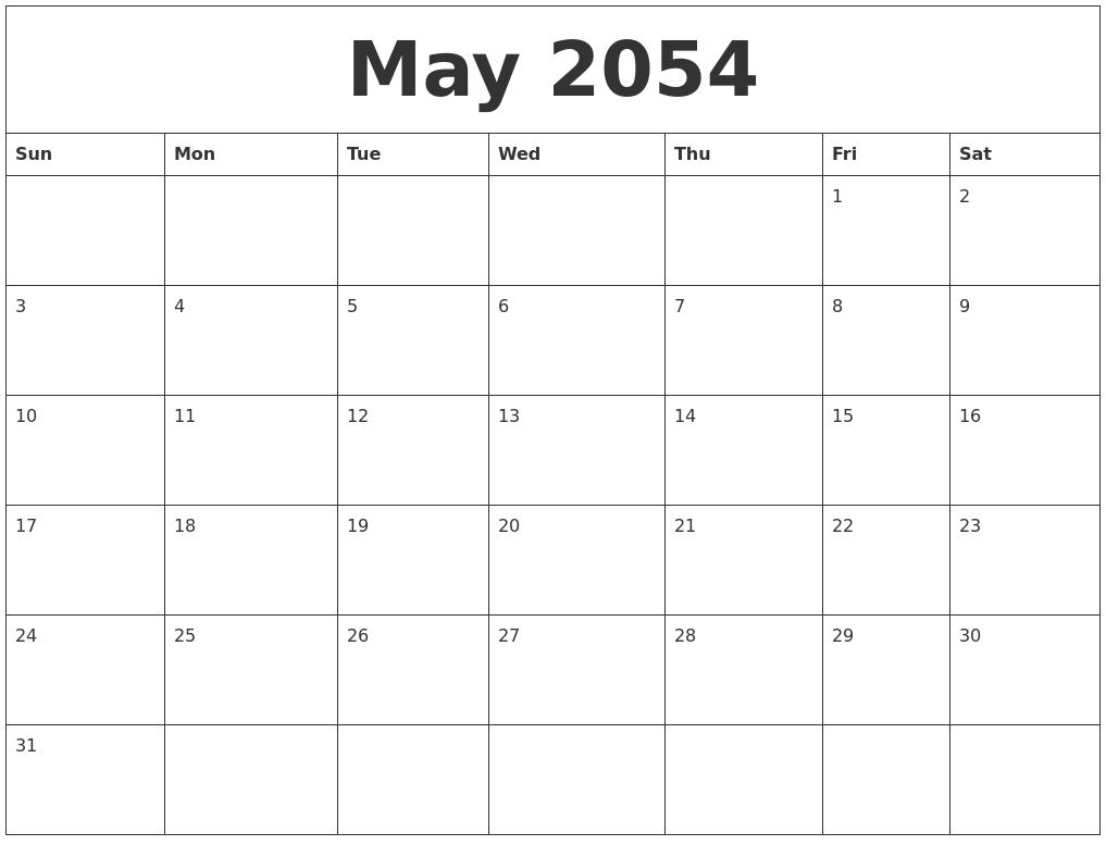 August 2054 Editable Calendar Template