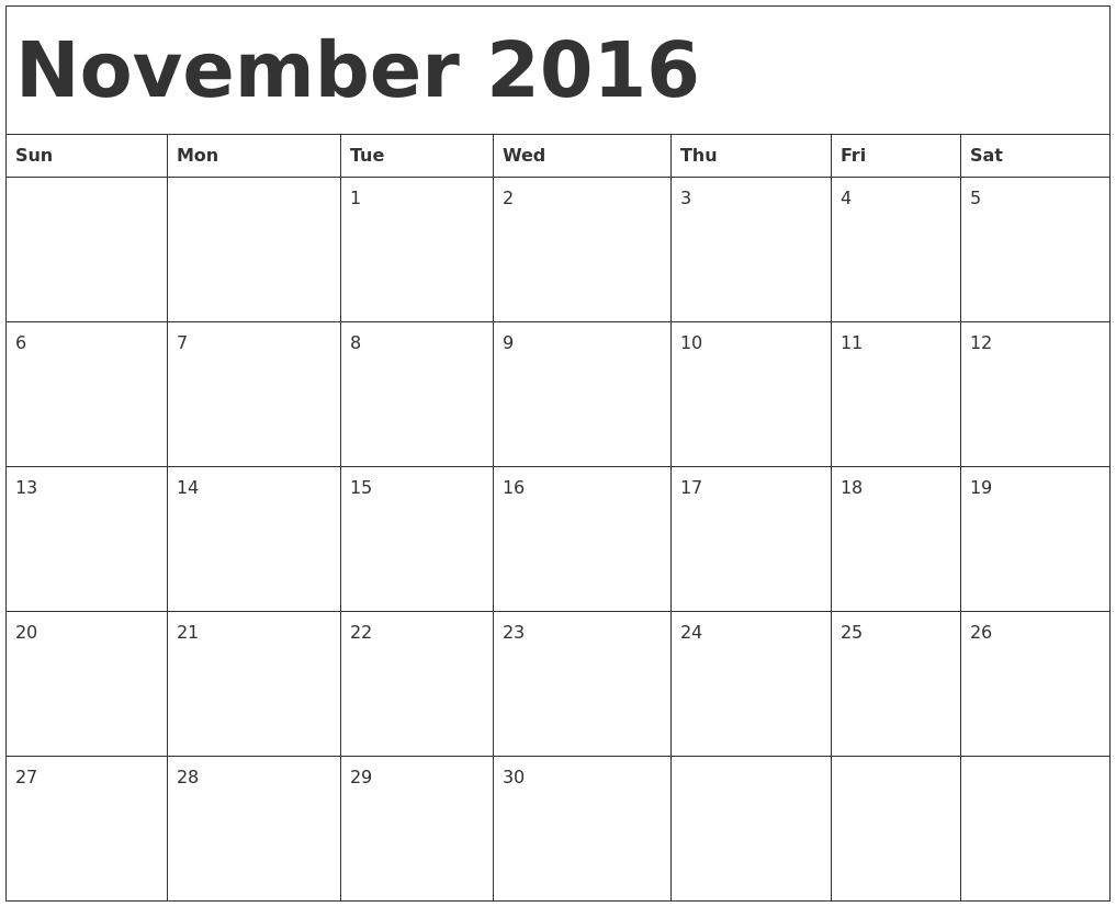 November Calendars