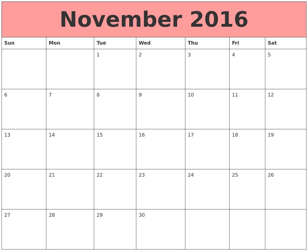 November 2016 Calendars That Work