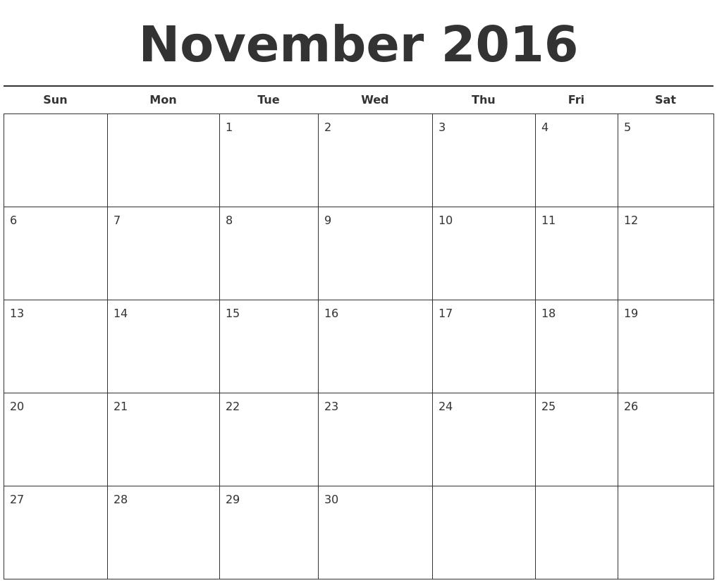 November 2016 Free Calendar Template