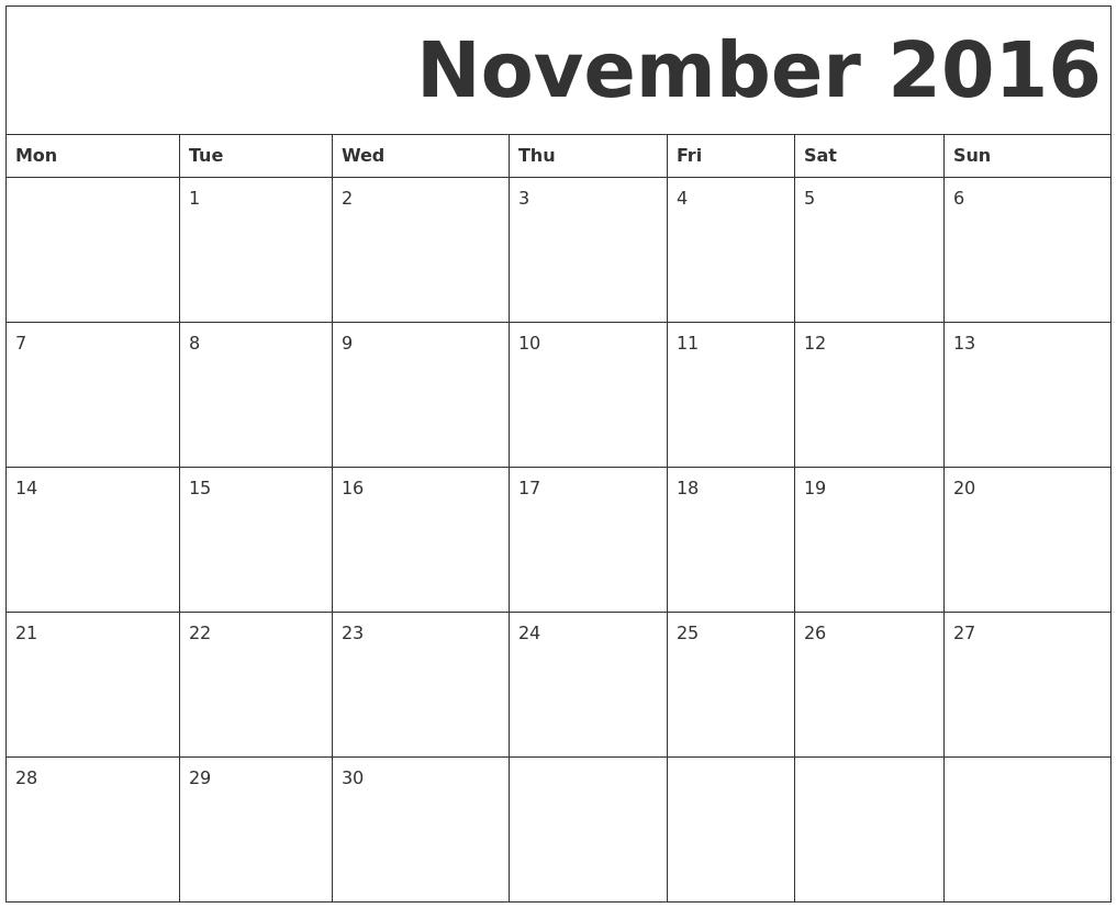 November 2016 Free Printable Calendar PDF's
