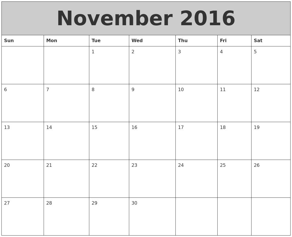 November 2016 My Calendar