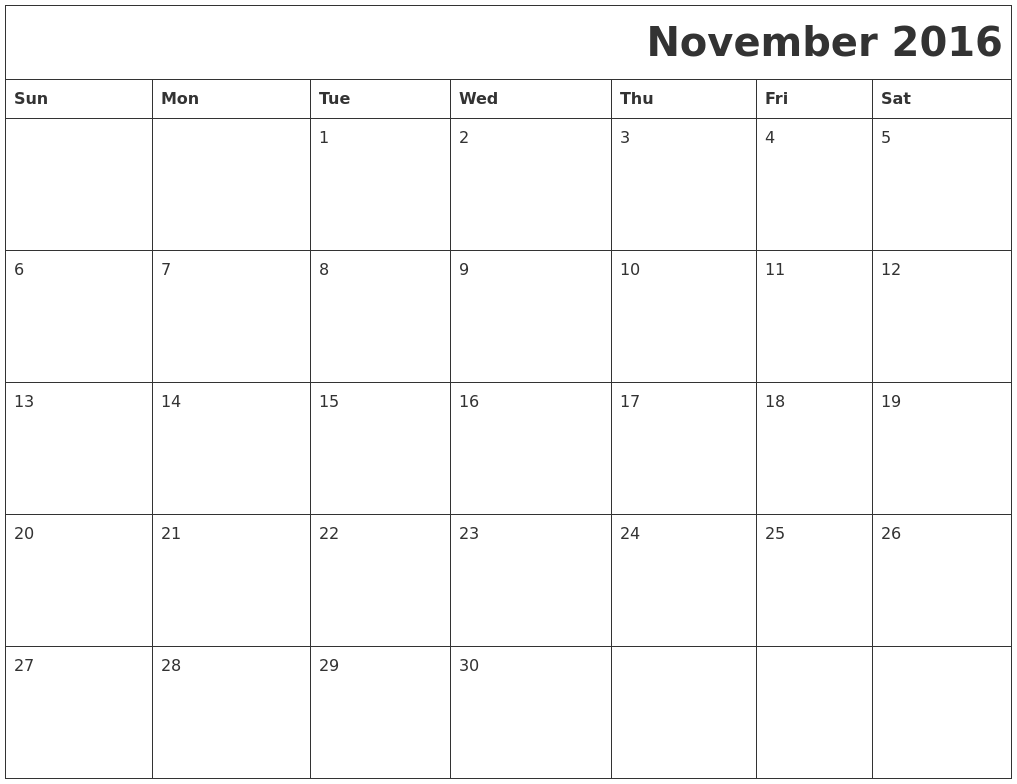 November 2016 Printable Calender