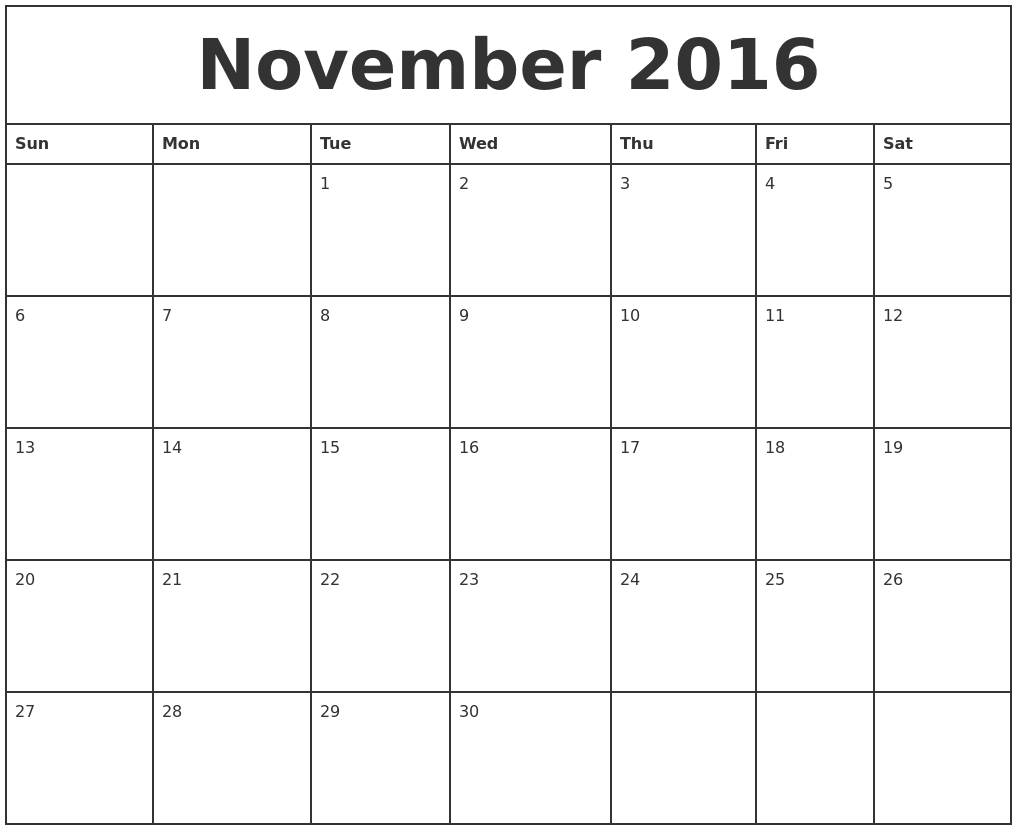 November 2016 Printable Monthly Calendar