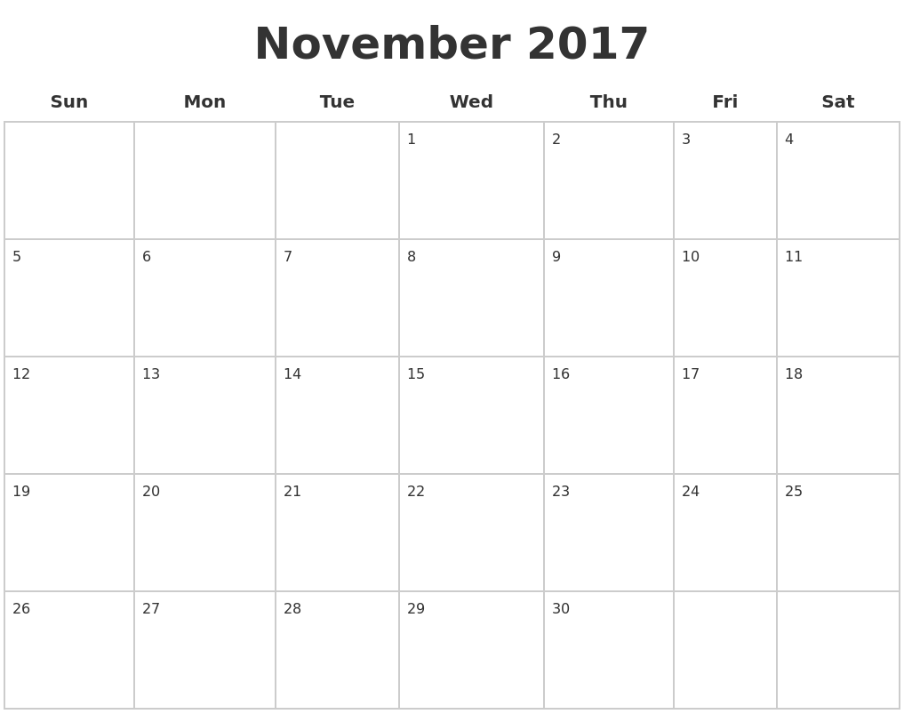 November 2017 Blank Calendar Pages