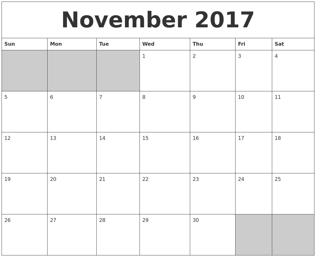 November 2017 Blank Printable Calendar