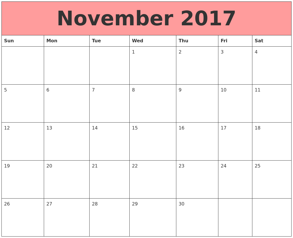 November 2017 Calendars That Work