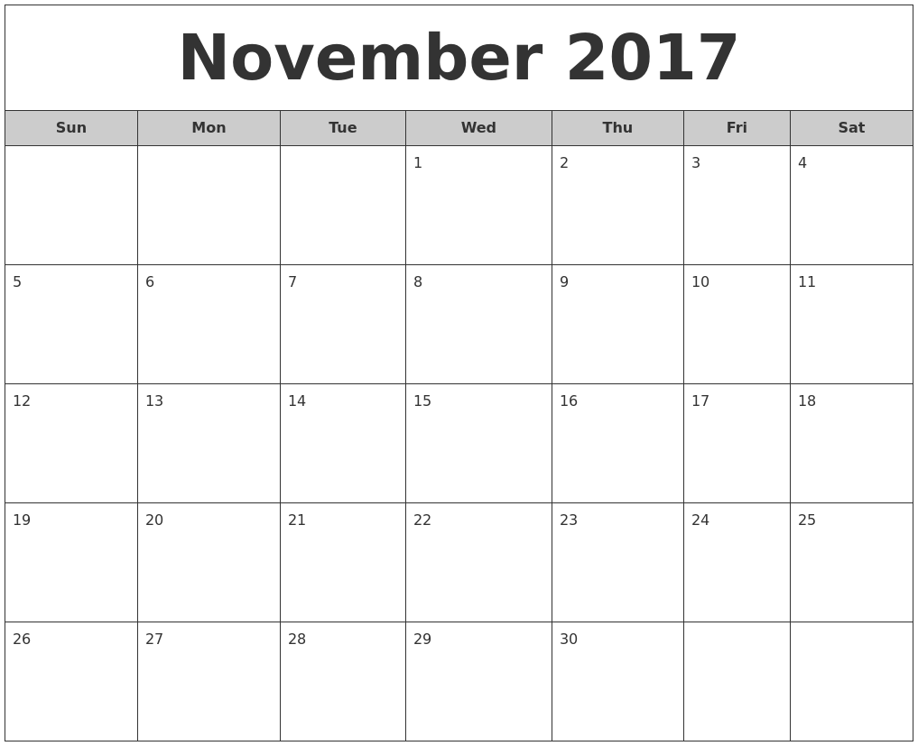 Calendar Monthly November : November calendars