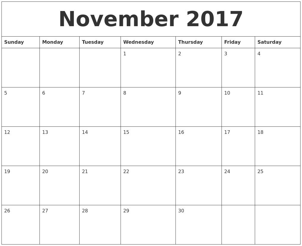 November 2017 Free Online Calendar PDF's