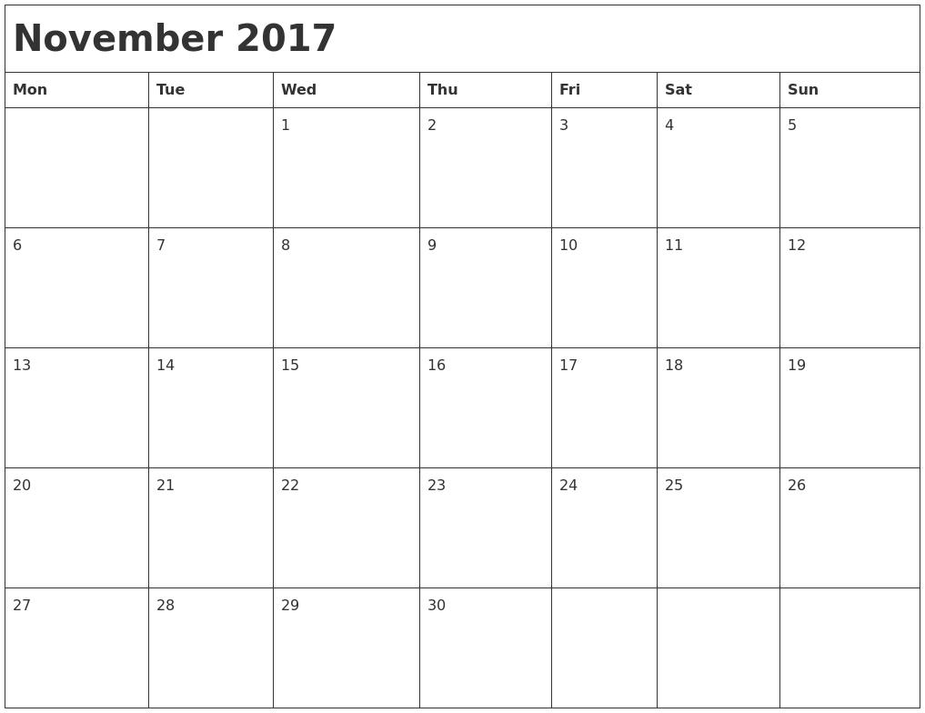Monthly Calendar Nov : November month calendar