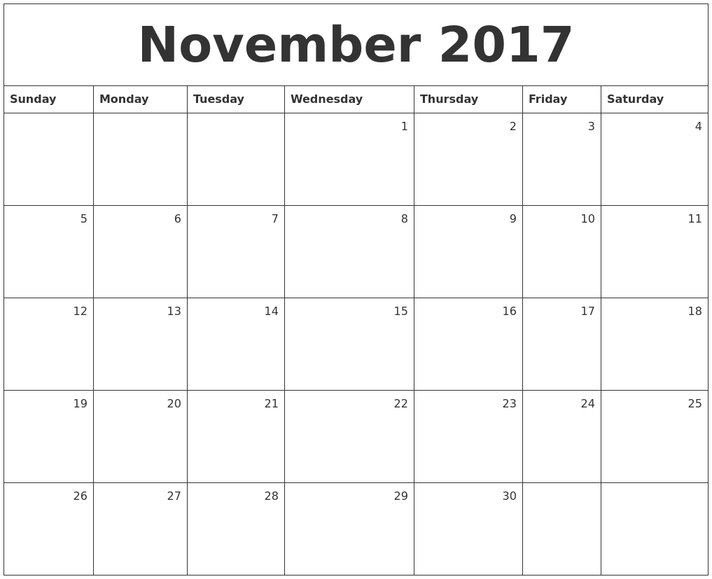 Monthly Calendar Nov : November monthly calendar