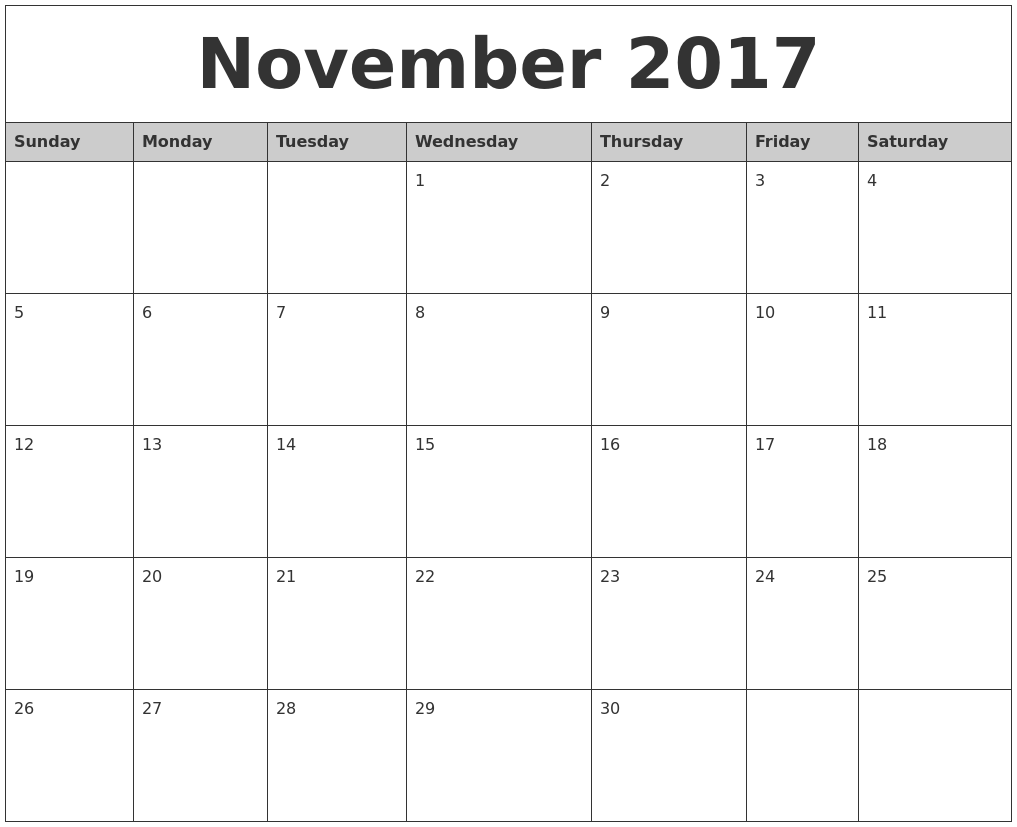 November Monthly Calendar : Free printable blank monthly calendars
