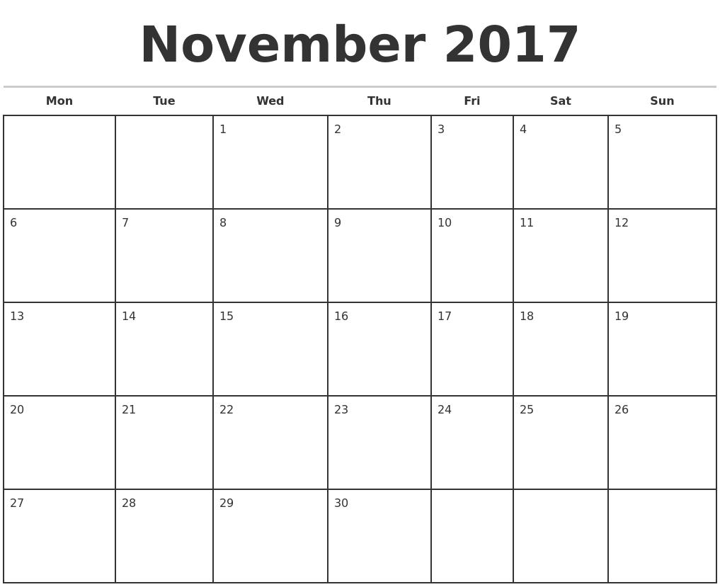 November Monthly Calendar Template : November monthly calendar template