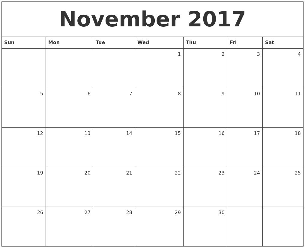 free printable monthly calendar 2017 november. Black Bedroom Furniture Sets. Home Design Ideas