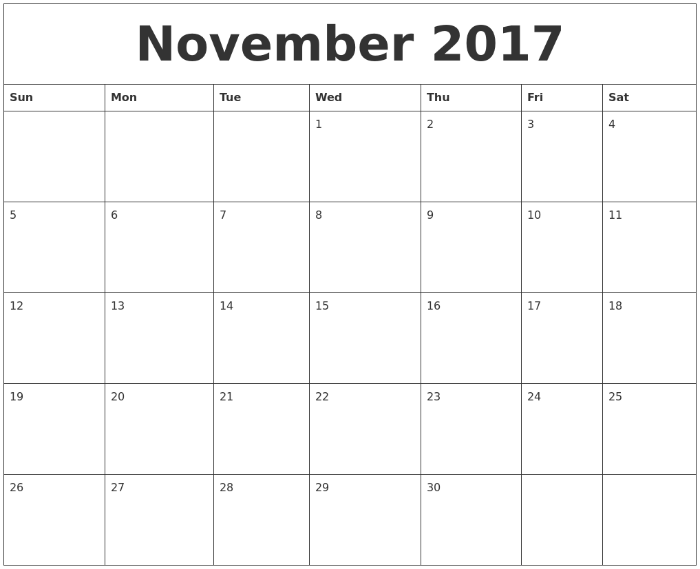 November 2017 Print Blank Calendar