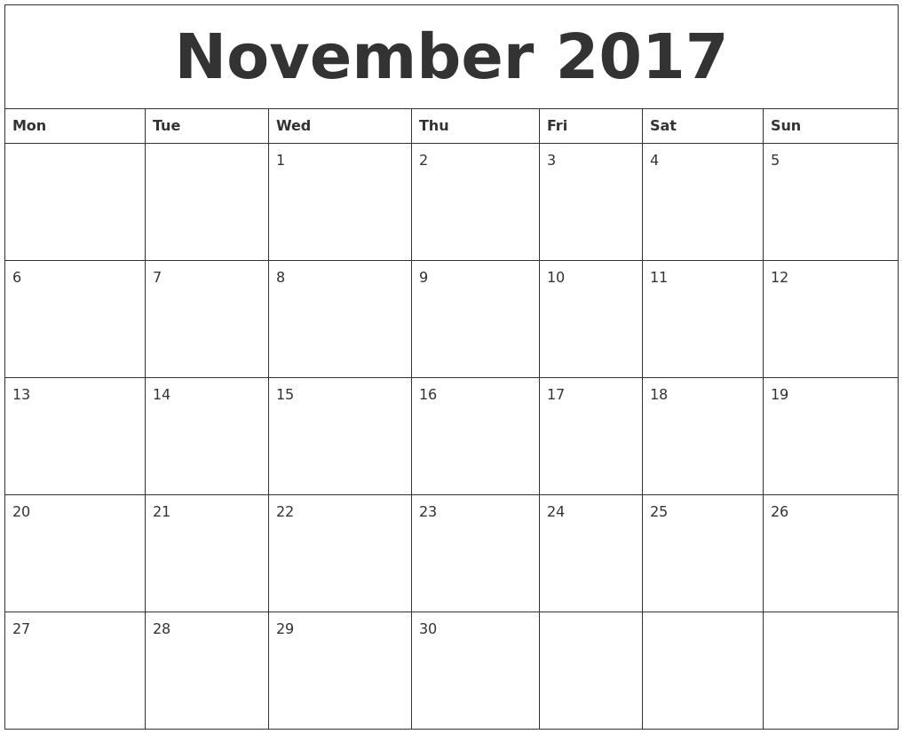 calendar print november 2017