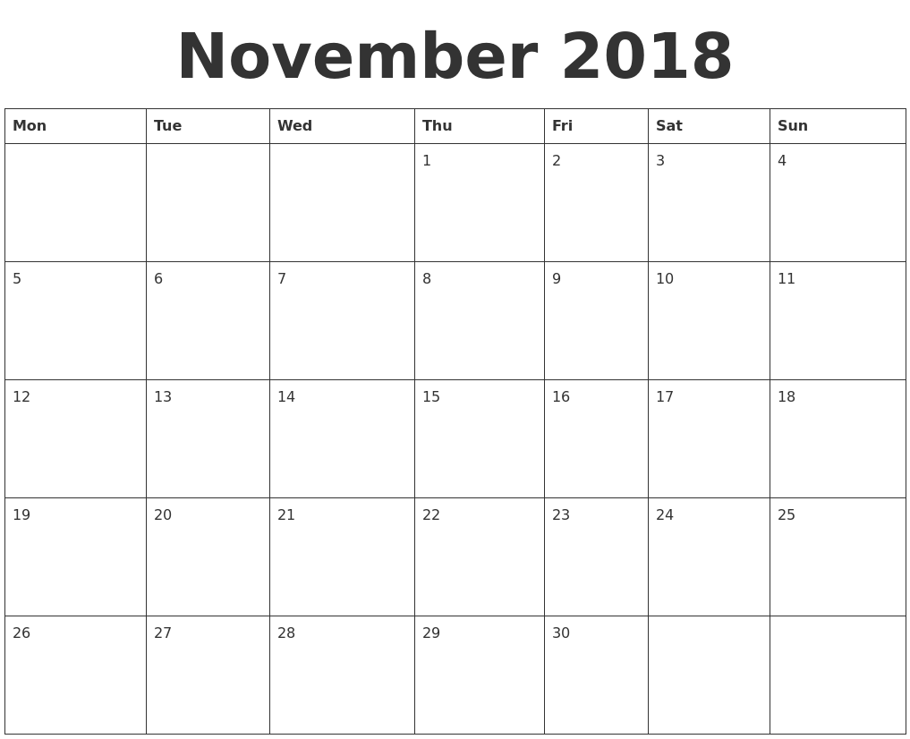 Monthly Calendar Nov : November blank calendar template